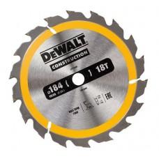 DT1938 Диск пильный CONSTRUCTION, 184х16 мм 18 зубов по дереву с гвоздями DeWALT