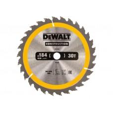 DT1940 Диск пильный CONSTRUCTION, 184х16 мм 30 зубов по дереву с гвоздями DeWALT