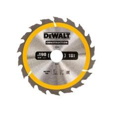 DT1943 Диск пильный CONSTRUCTION, 190х30 мм 18 зубов по дереву с гвоздями DeWALT