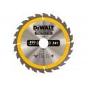 DT1944 Диск пильный CONSTRUCTION, 190х30 мм 24 зуба по дереву с гвоздями DeWALT