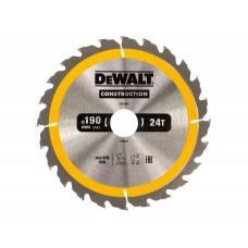 DT1945 Диск пильный CONSTRUCTION, 190х30 мм 40 зубов по дереву с гвоздями DeWALT