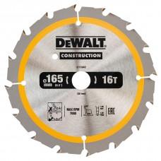 DT1948 Диск пильный CONSTRUCTION, 165х20 мм 16 зубов по дереву с гвоздями DeWALT