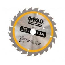 DT1949 Диск пильный CONSTRUCTION, 165х20 мм 24 зуба по дереву с гвоздями DeWALT