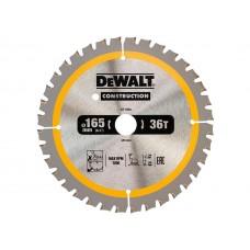 DT1950 Диск пильный CONSTRUCTION, 165х20 мм 36 зубов по дереву с гвоздями DeWALT