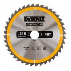 DT1953 Диск пильный CONSTRUCTION, 216х30 мм 40 зубьев по дереву с гвоздями DeWALT