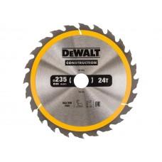 DT1954 Диск пильный CONSTRUCTION, 235х30 мм 24 зуба по дереву с гвоздями DeWALT