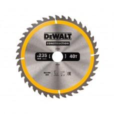 DT1955 Диск пильный CONSTRUCTION, 235х30 мм 40 зубьев по дереву с гвоздями DeWALT