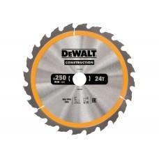 DT1956 Диск пильный CONSTRUCTION, 250х30 мм 24 зуба по дереву с гвоздями DeWALT