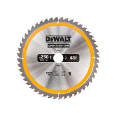 DT1957 Диск пильный CONSTRUCTION, 250х30 мм 48 зубов по дереву с гвоздями DeWALT