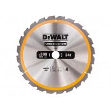 DT1958 Диск пильный CONSTRUCTION, 305х30 мм 24 зуба по дереву с гвоздями DeWALT