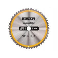 DT1959 Диск пильный CONSTRUCTION, 305х30 мм 48 зубов по дереву с гвоздями DeWALT