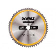 DT1960 Диск пильный CONSTRUCTION, 305х30 мм 60 зубов по дереву с гвоздями DeWALT